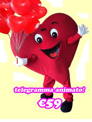 Telegramma animato per san valentino con mascotte cuore