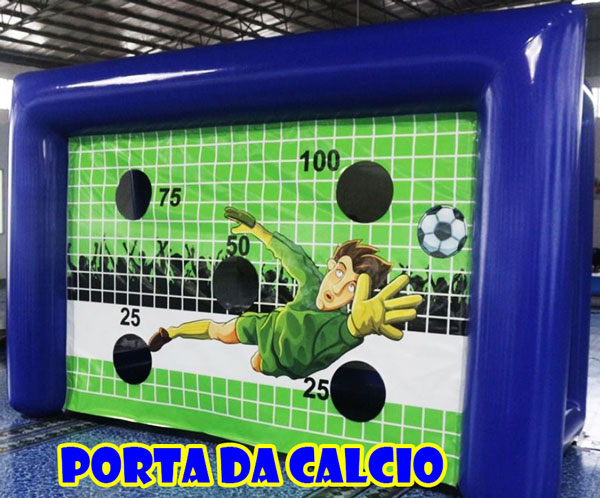 Gonfiabile porta di calcio per tirare rigori senza portiere