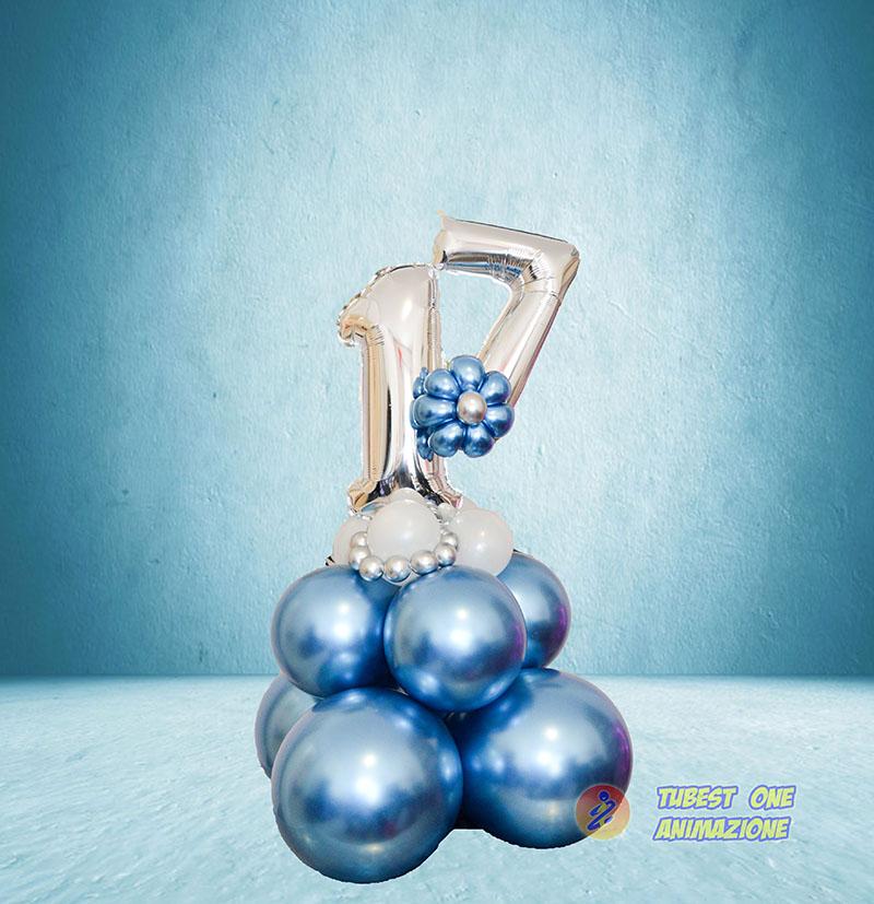 centrotavola di palloncini per compleanno numero doppio con base