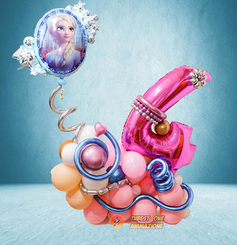 composizione di palloncini per compleanno stile organic tema frozen