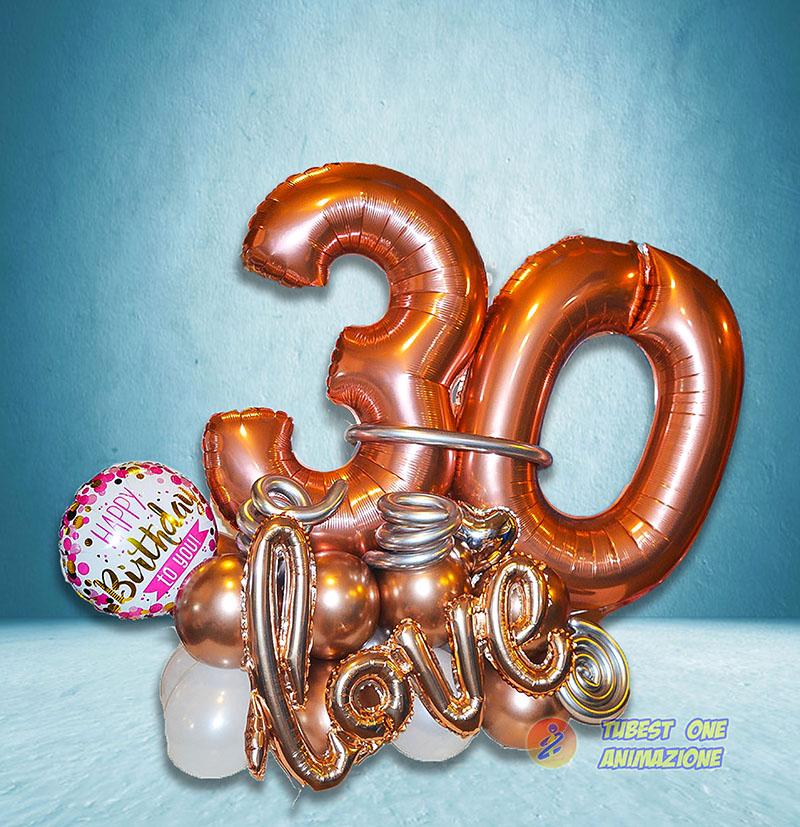 composizione di palloncini per trentesimo compleanno numero 100cm organic tema love