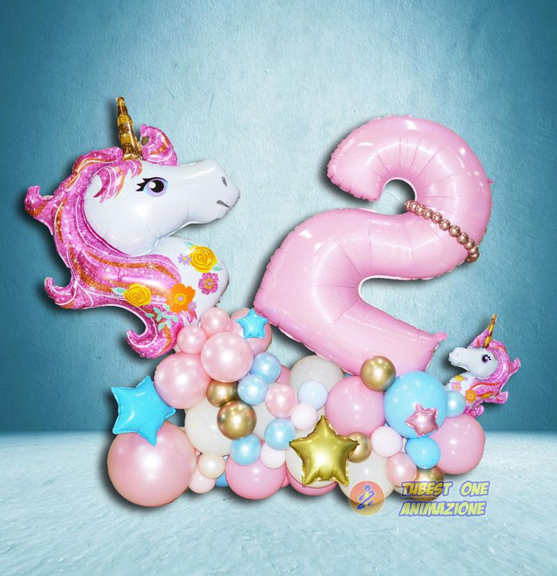 Decorazione con palloncini tema unicorno